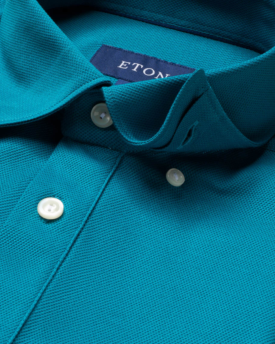 Teal polo shirt - short sleeved - image 3