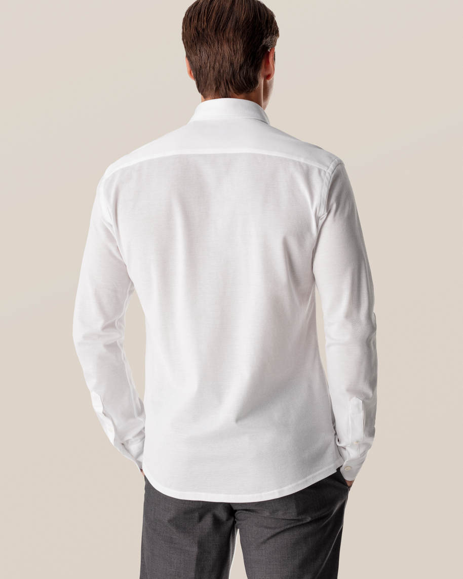White Long-Sleeved Piqué Shirt - image 7