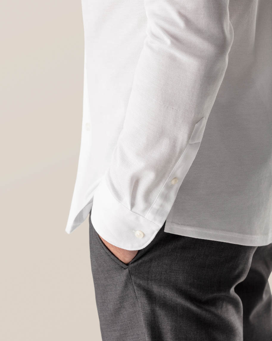 White Long-Sleeved Piqué Shirt - image 6