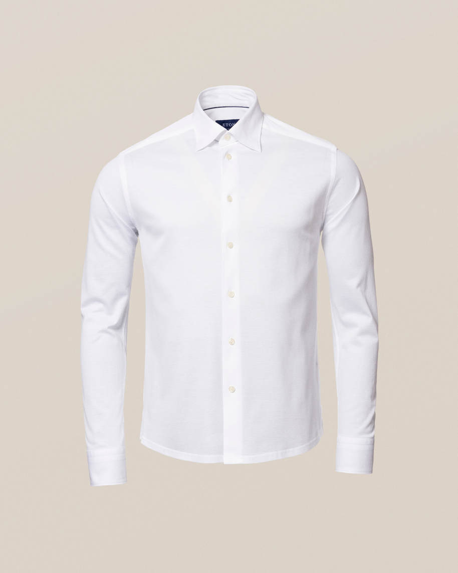 White Long-Sleeved Piqué Shirt - image 2