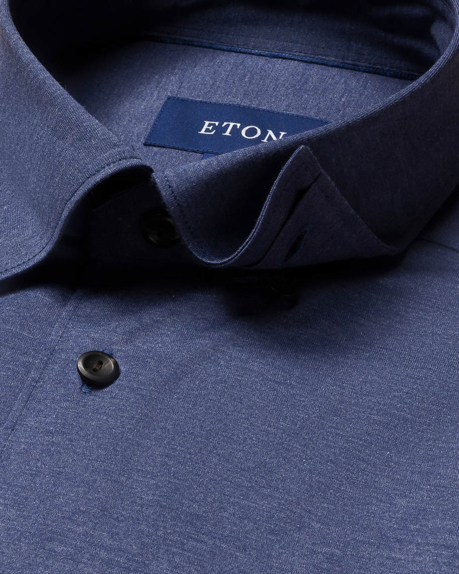 Navy jersey shirt - tone-in-tone buttons - image 3