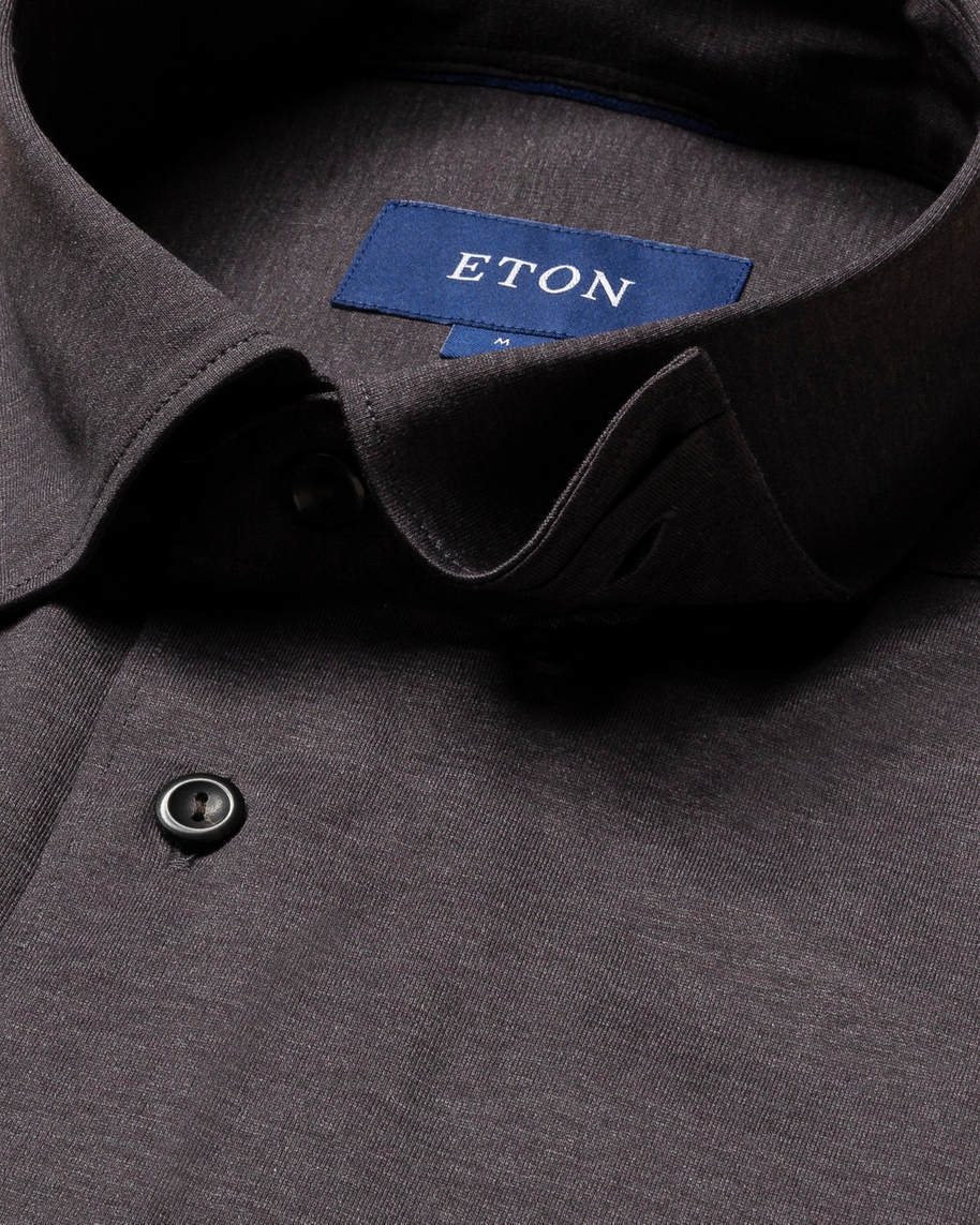 Brown/grey jersey shirt - tone-in-tone buttons - image 3