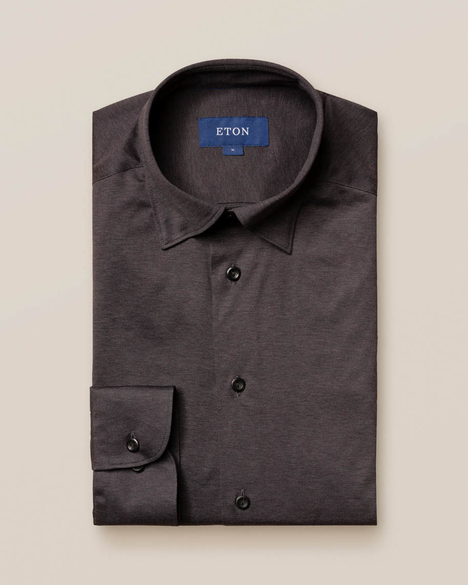 Brown/grey jersey shirt - tone-in-tone buttons