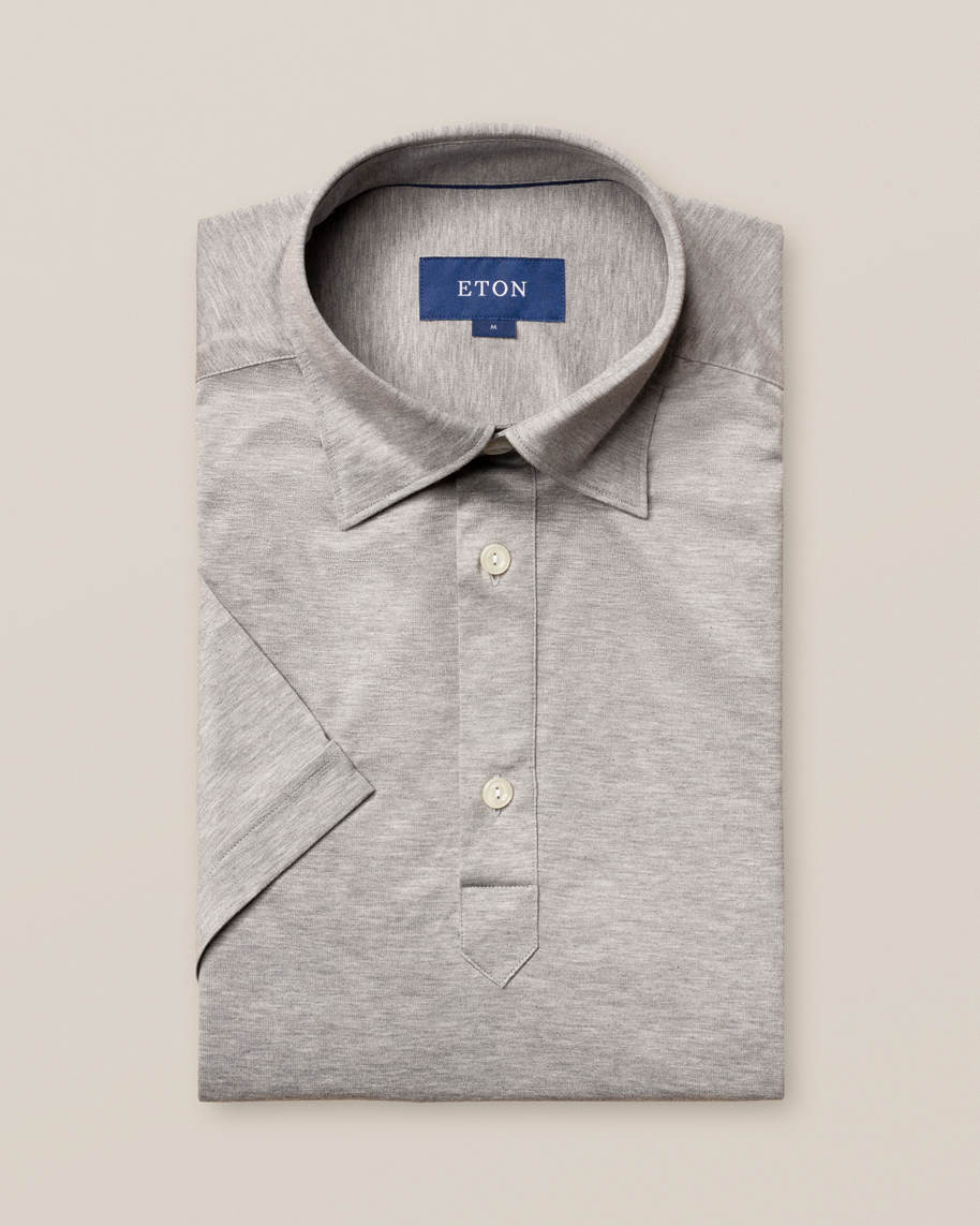 Light grey jersey popover shirt - short sleeved - image 1