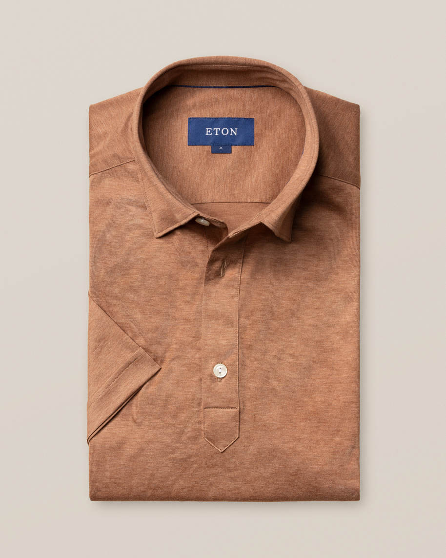 Brown popover jersey shirt - short sleeved - image 1