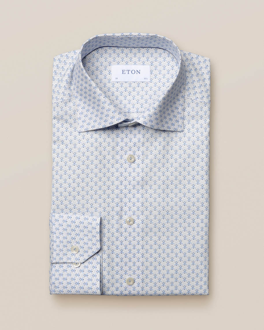 Blue medallion poplin shirt