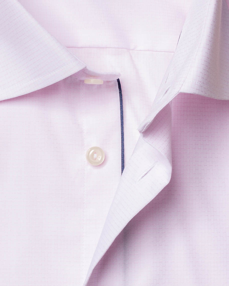 Pink checked shirt – navy details - image 3