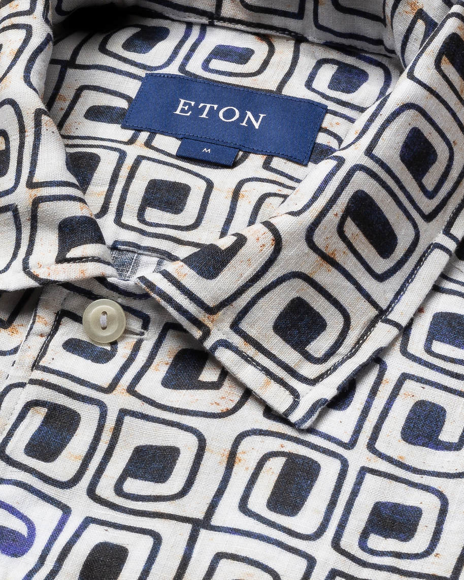 Beige block print linen resort shirt