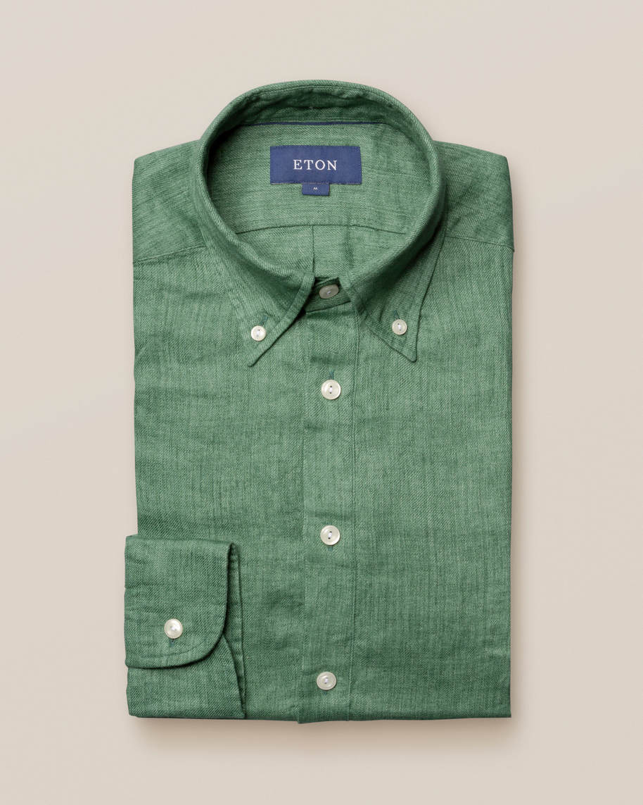 Green luxe linen popover shirt - image 1