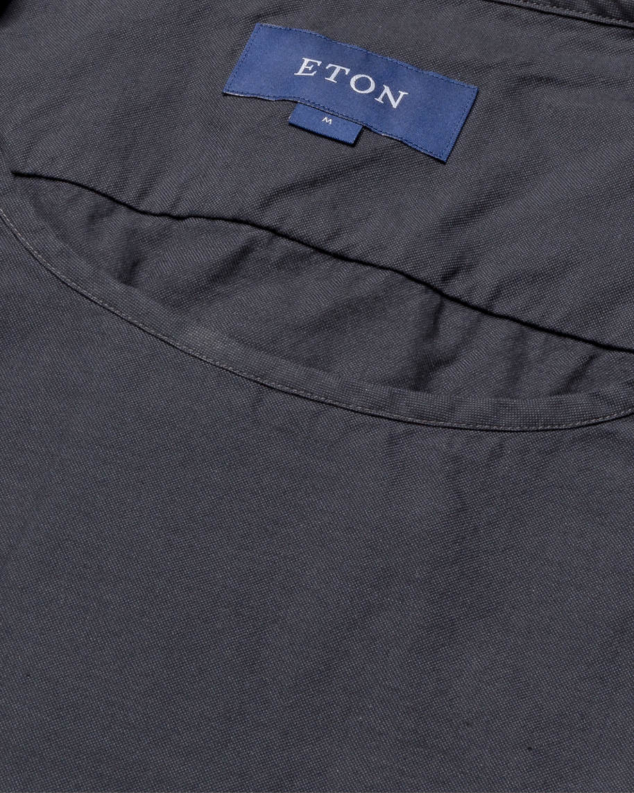 Black T-shirt in woven twill