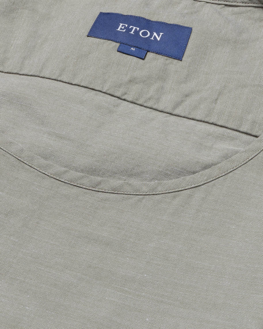 Green T-shirt in woven twill - image 3