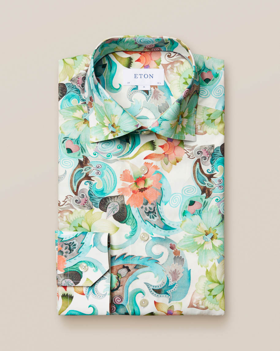 Water colour floral twill shirt - image 1