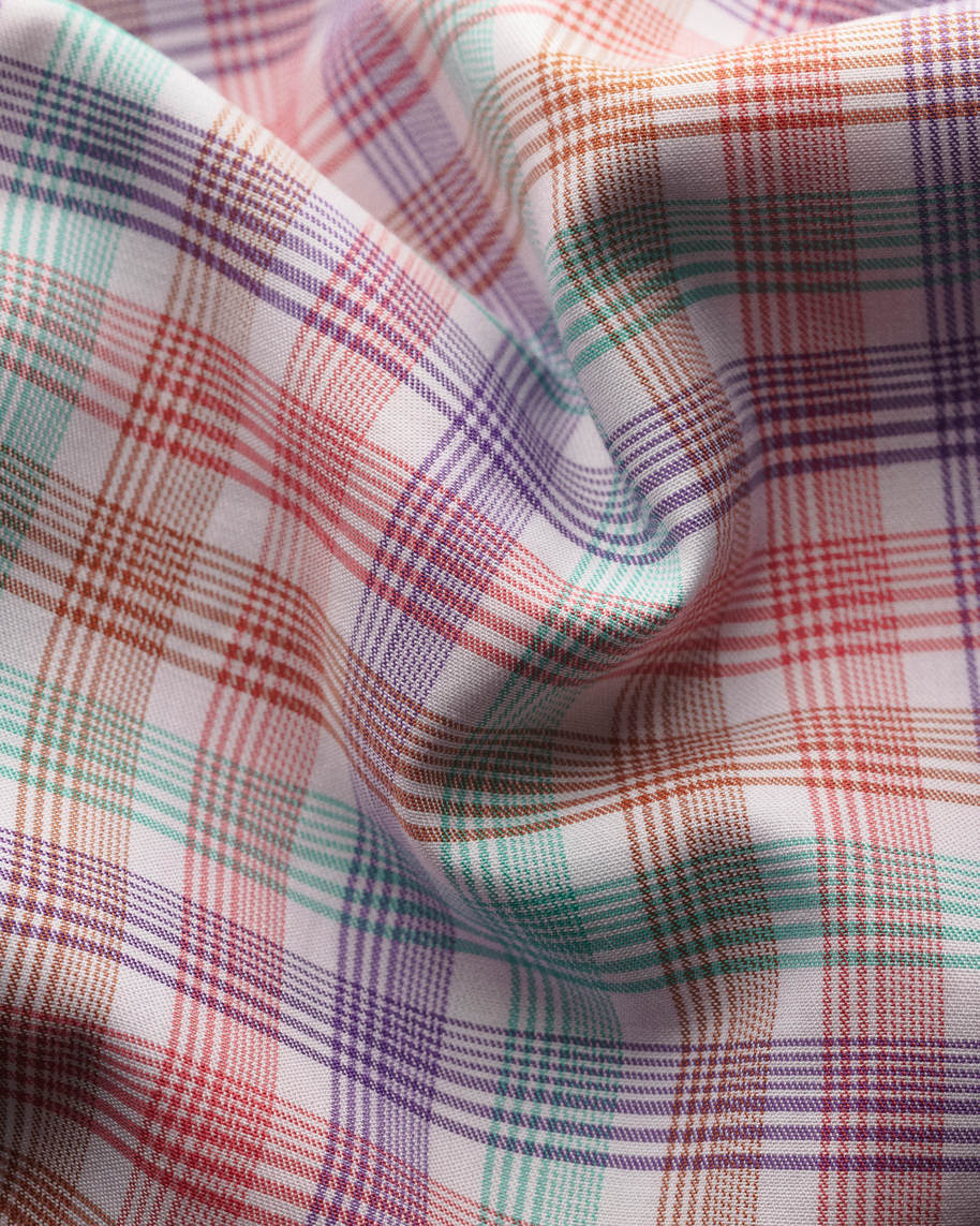Pink checked fine twill shirt - image 2
