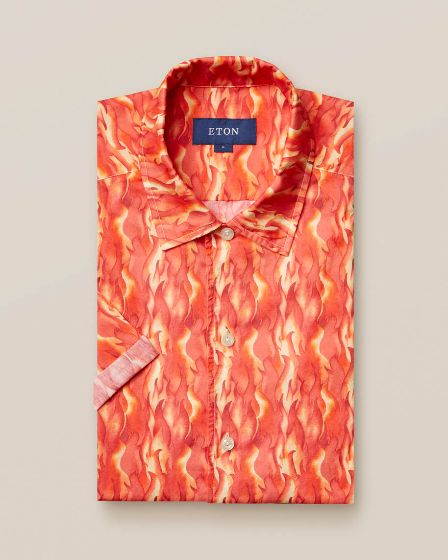 Flame print resort shirt