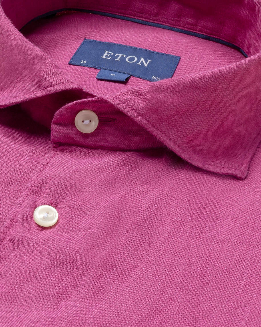 Burgundy linen shirt - soft - image 3
