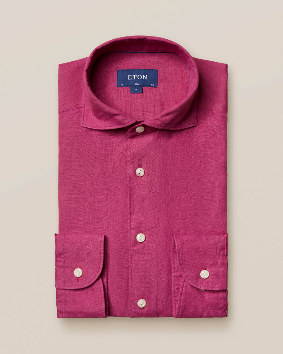 Burgundy linen shirt - soft - image 1