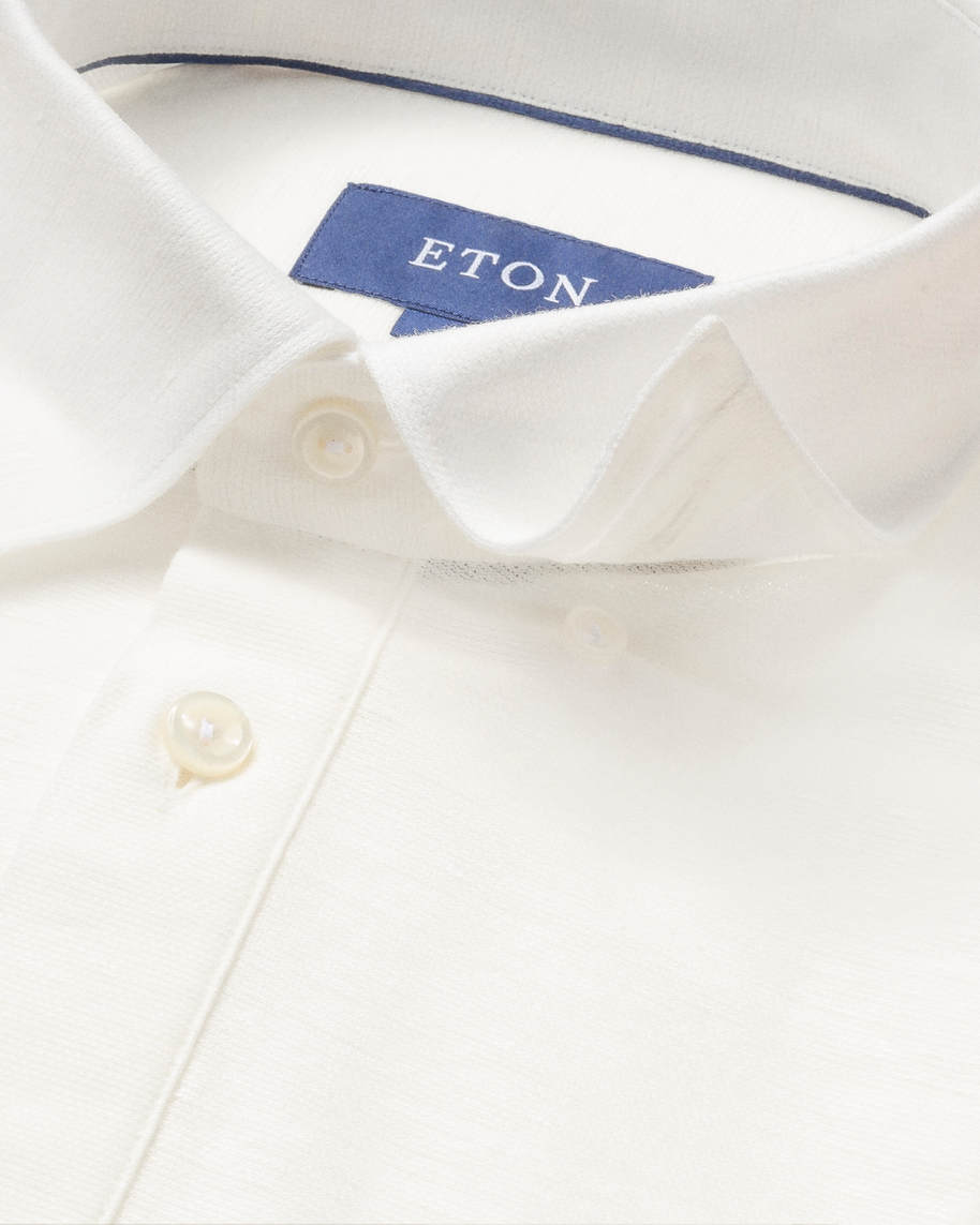 White cotton-linen polo shirt - short sleeved - image 3