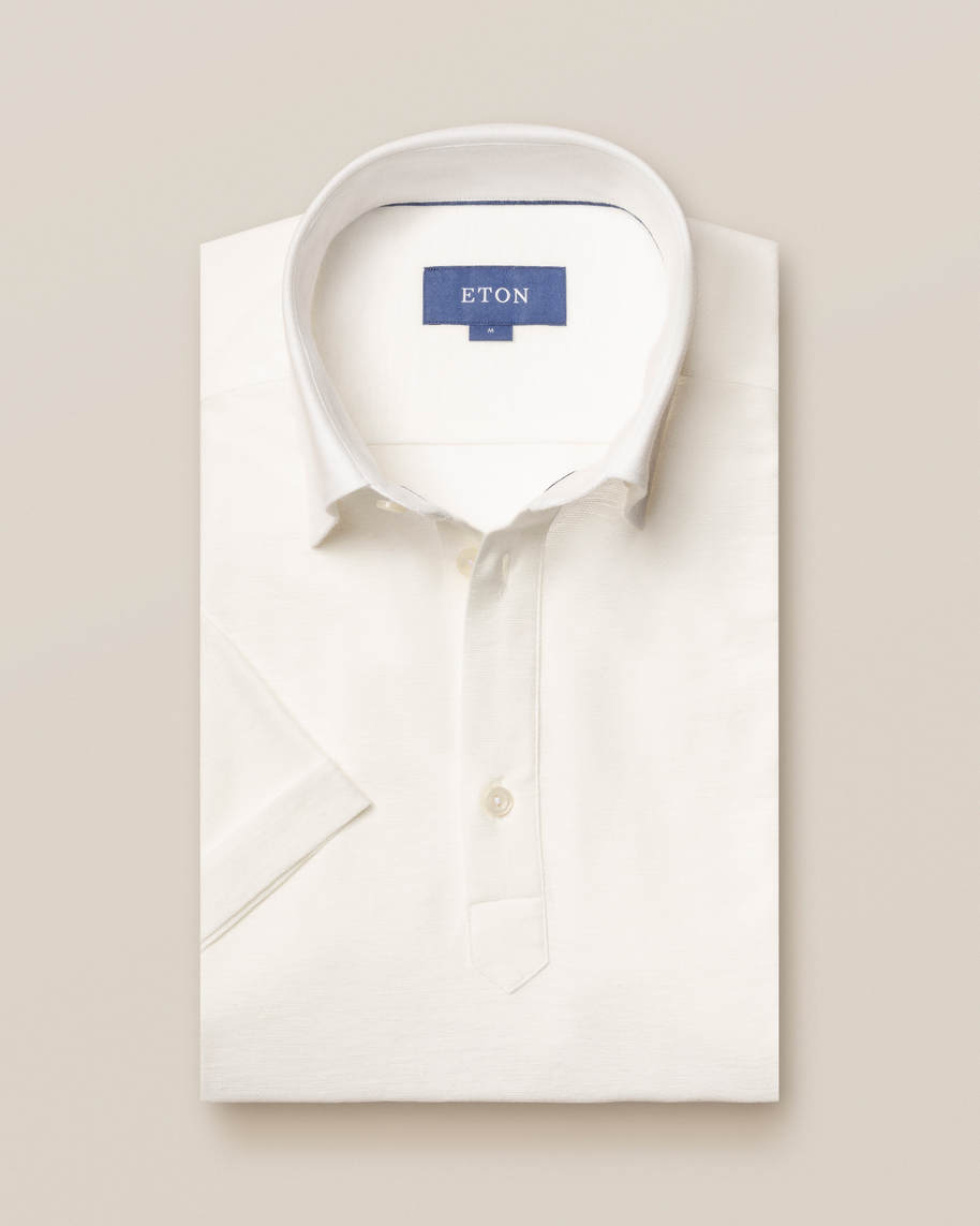 White cotton-linen polo shirt - short sleeved - image 1