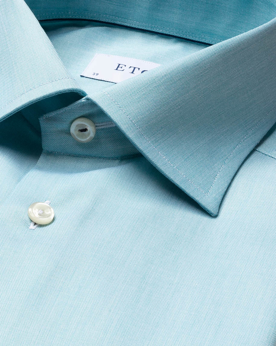 Turquoise twill shirt – navy piping - image 3