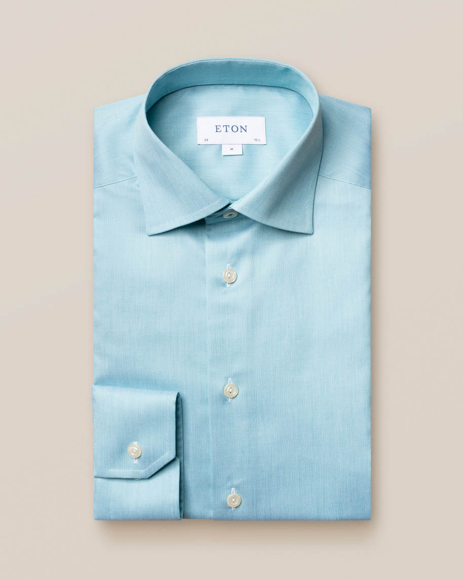 Turquoise twill shirt – navy piping - image 1