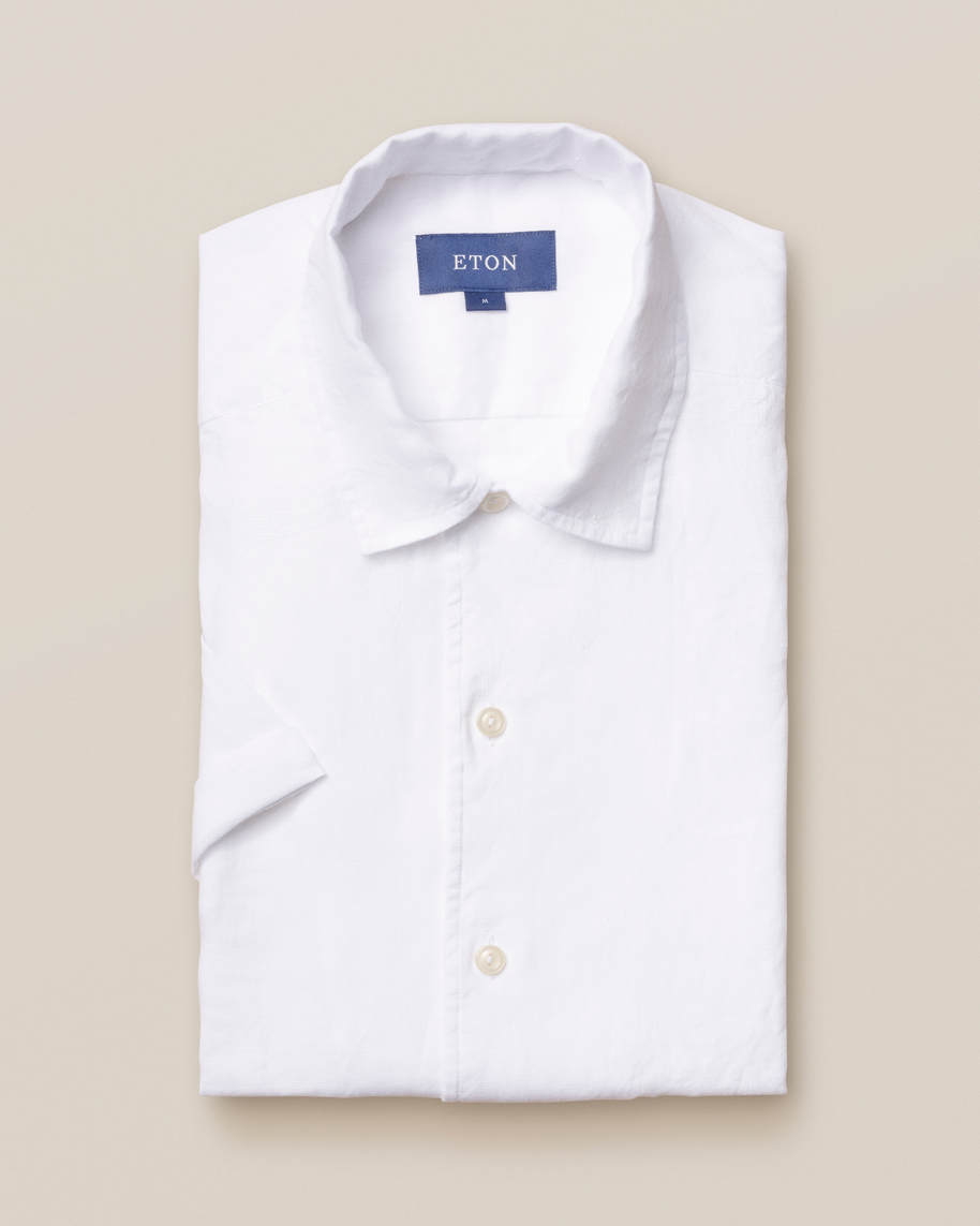 White linen resort shirt