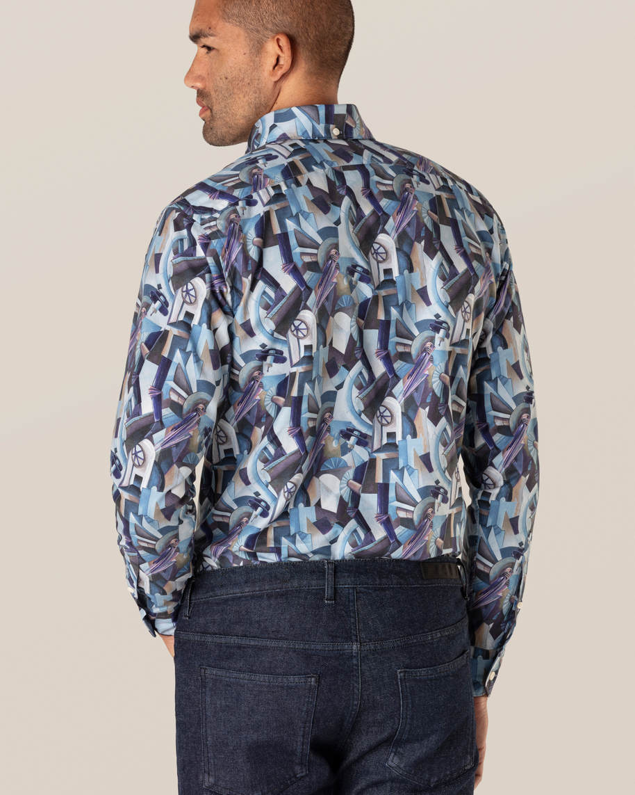 Blue Printed Button-Down Shirt - image 8
