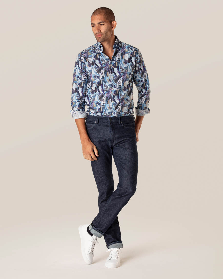 Blue Printed Button-Down Shirt - image 6