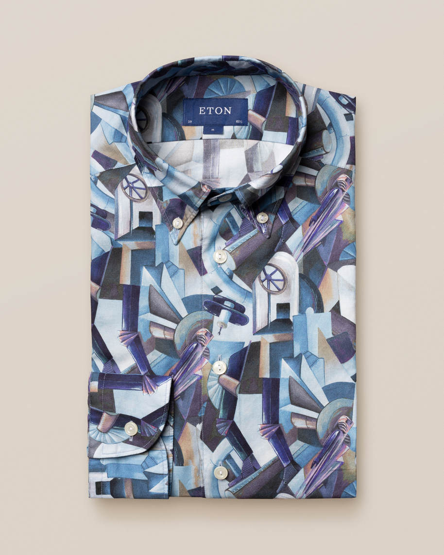 Blue Printed Button-Down Shirt - image 2
