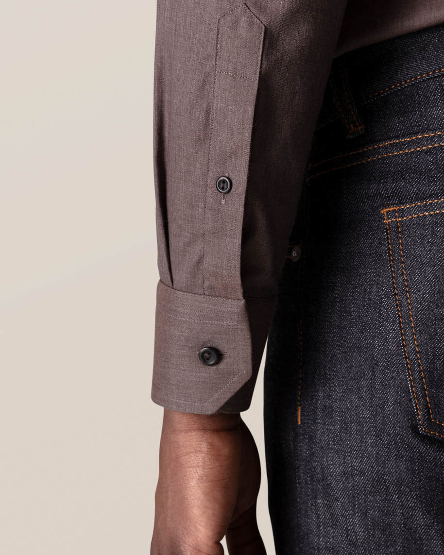 Brown Wrinkle-Free Flannel Shirt - image 7