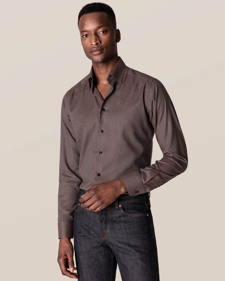 Brown Wrinkle-Free Flannel Shirt - image 1