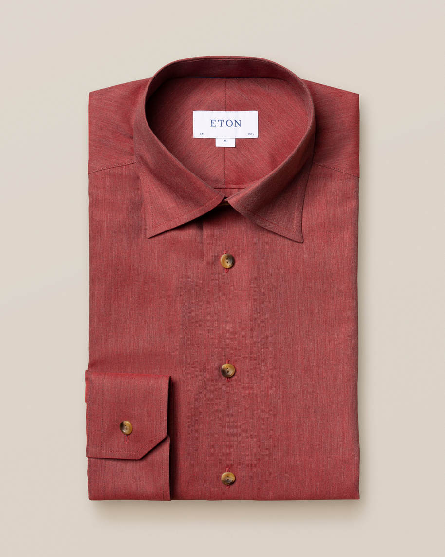 Red Wrinkle-Free Flannel Shirt - image 1