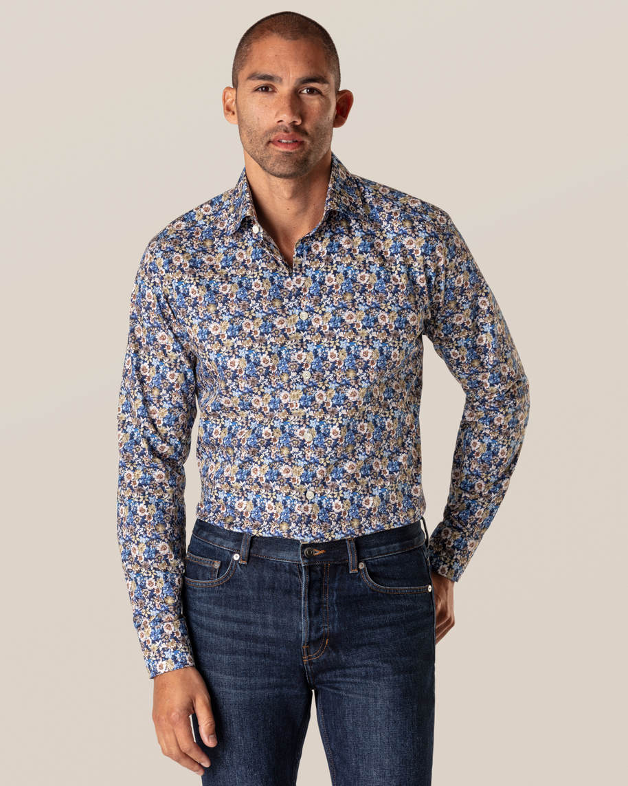 Blue Floral Twill Shirt - image 1