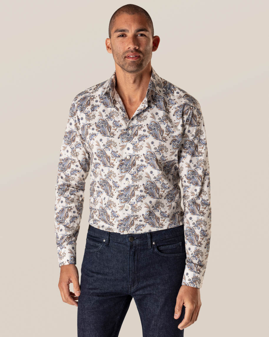 Off White Paisley Signature Twill Shirt
