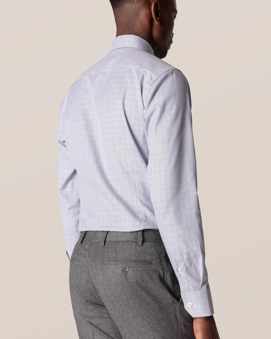 Grey & Blue Double-Checked Twill Shirt - image 9