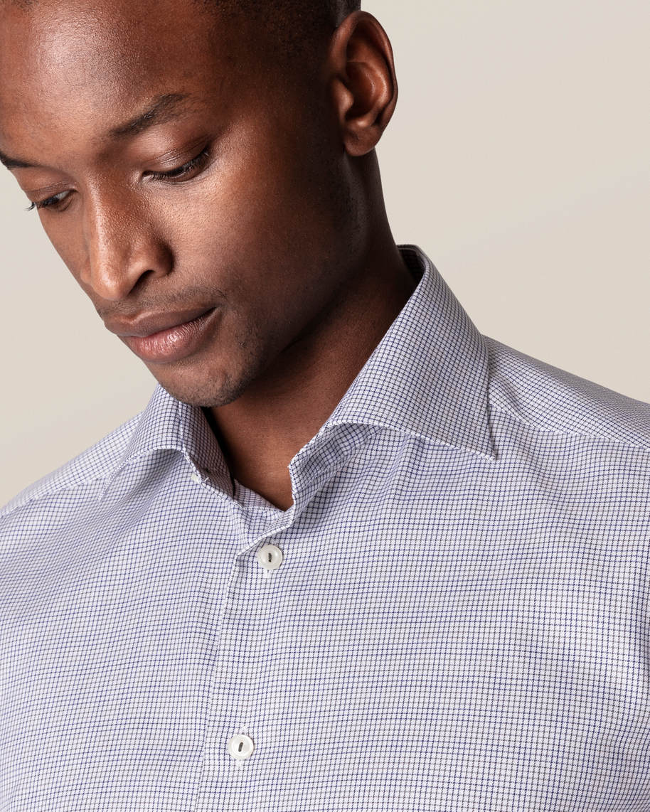 Grey & Blue Double-Checked Twill Shirt - image 10