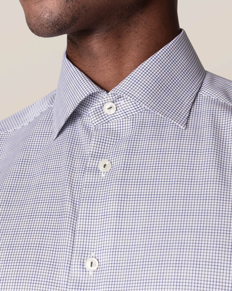 Grey & Blue Double-Checked Twill Shirt - image 7