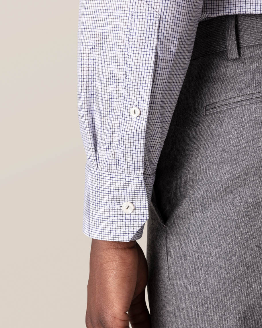 Grey & Blue Double-Checked Twill Shirt - image 8
