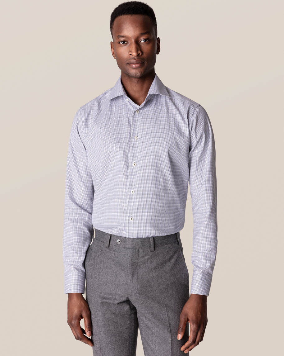 Grey & Blue Double-Checked Twill Shirt
