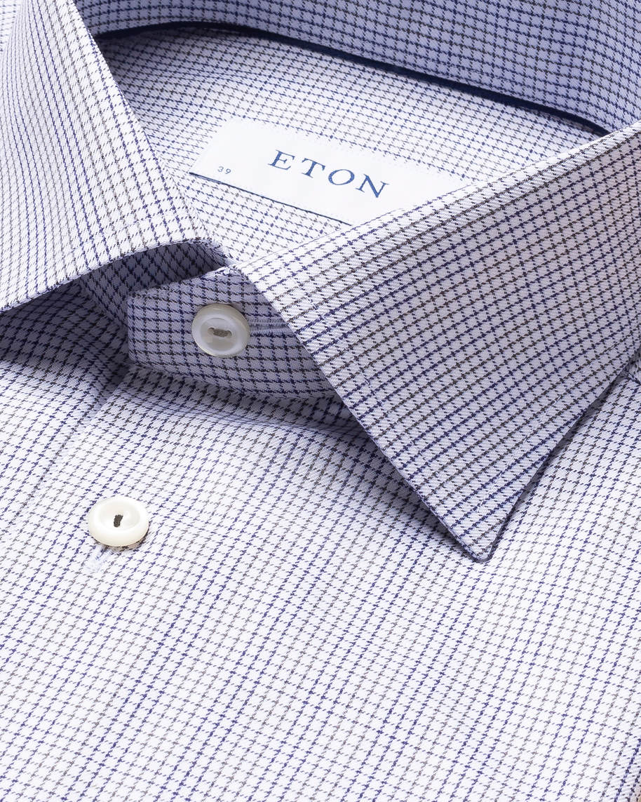 Grey & Blue Double-Checked Twill Shirt - image 4