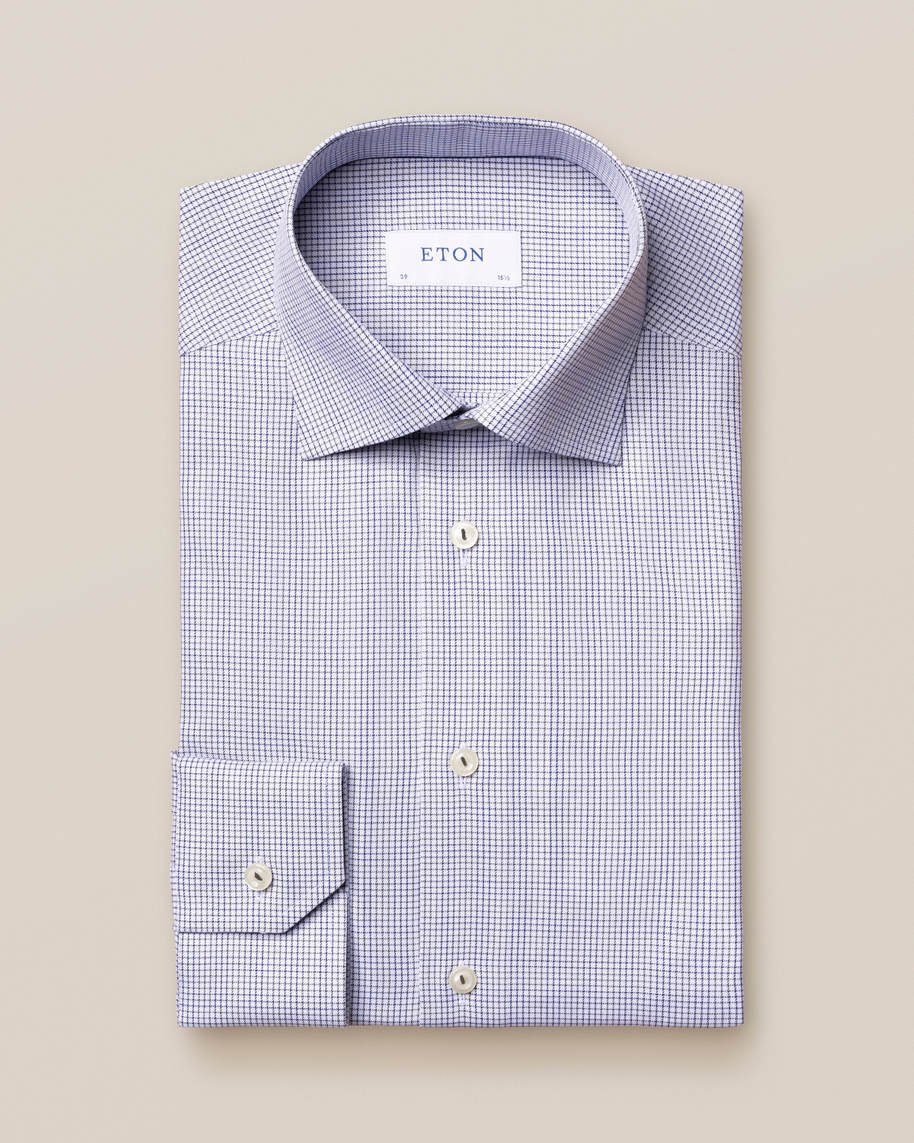 Grey & Blue Double-Checked Twill Shirt - image 2