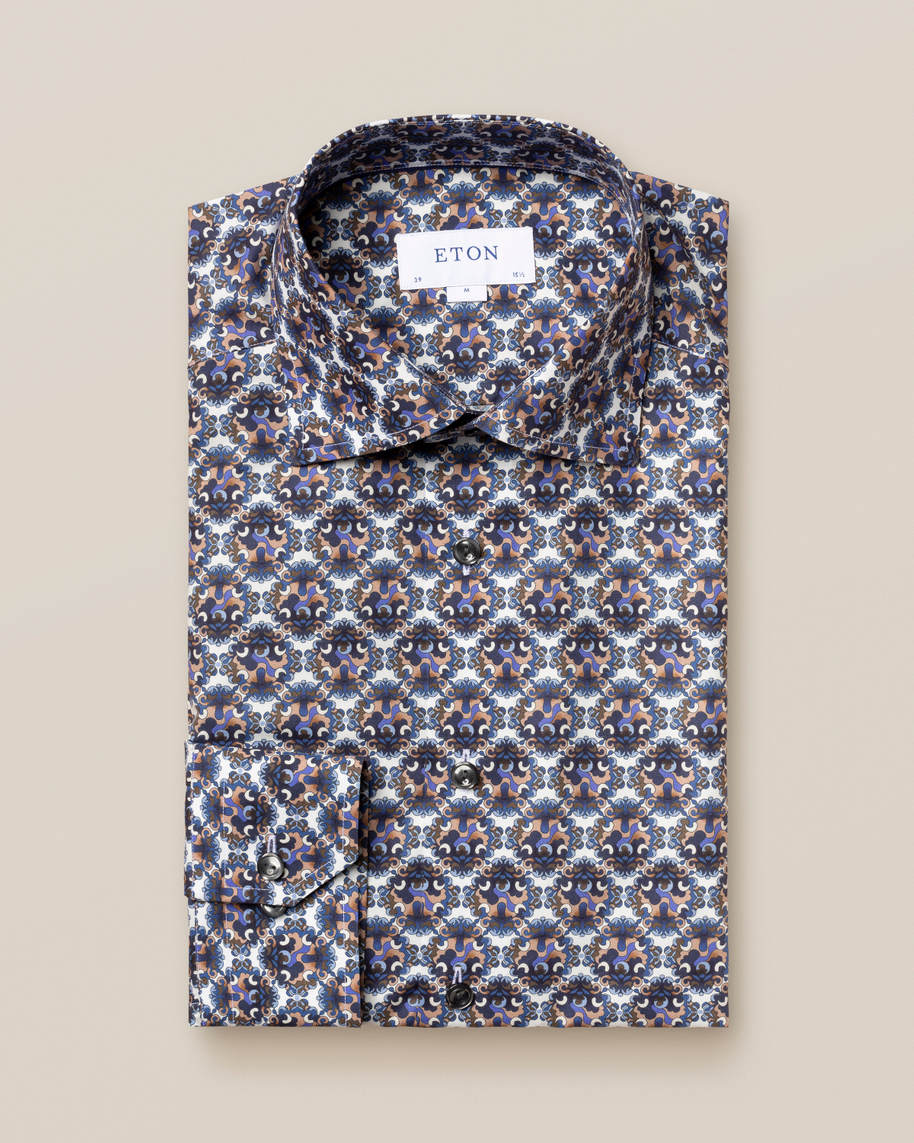 Blue & Purple Medallion Print Shirt - image 1