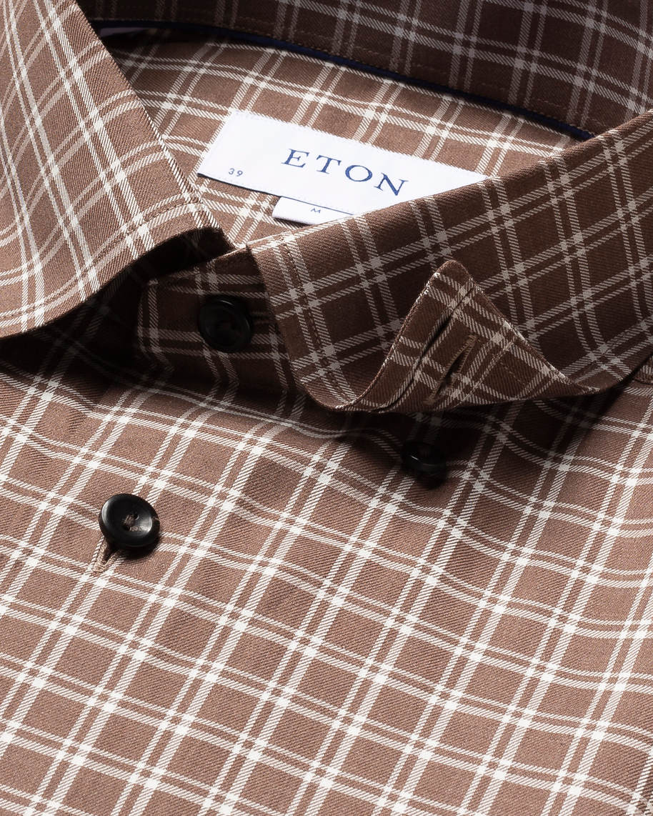 Brown & White Checked Flannel Shirt