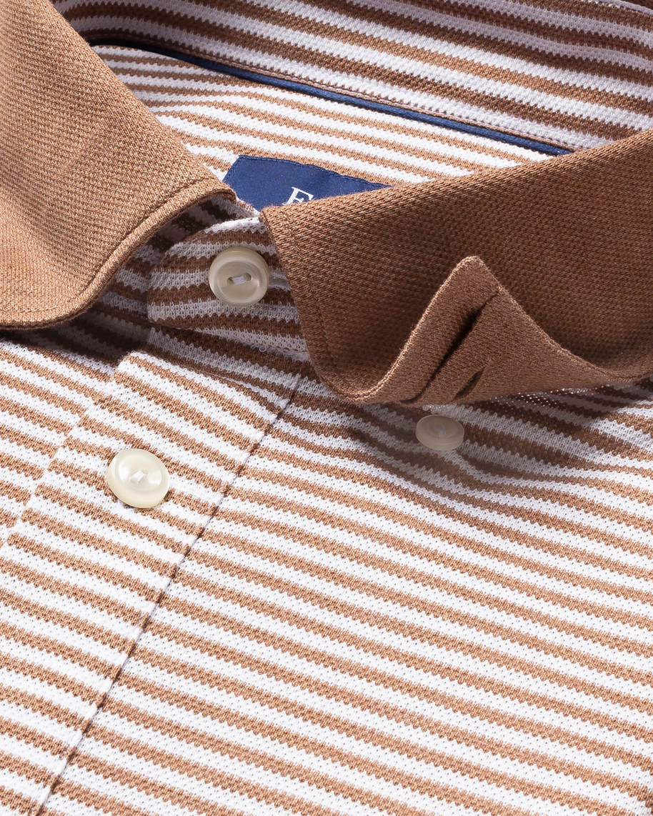 Beige Striped Polo Shirt – Long Sleeved - image 3
