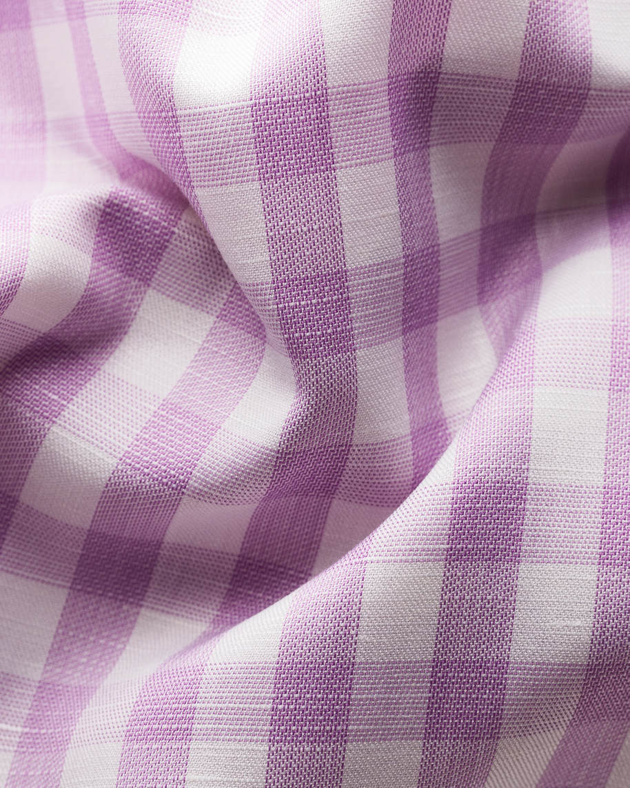 Purple gingham cotton-linen shirt - image 2