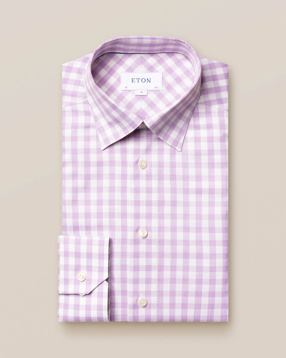 Purple gingham cotton-linen shirt - image 1