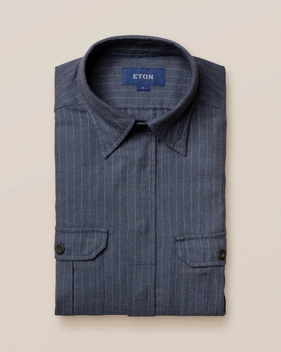 Blue Pinstripe Four-Pocket Overshirt