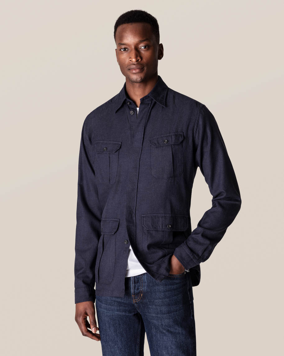 Dark Blue Four-Pocket Overshirt