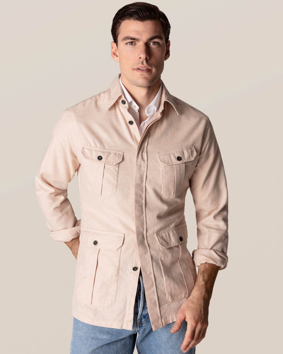 Beige Four-Pockets Overshirt