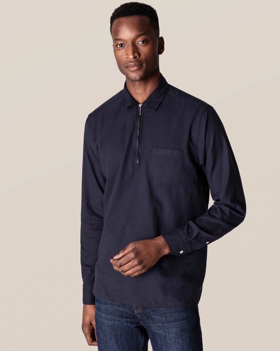 Dark Blue Half-Zip Shirt - image 1