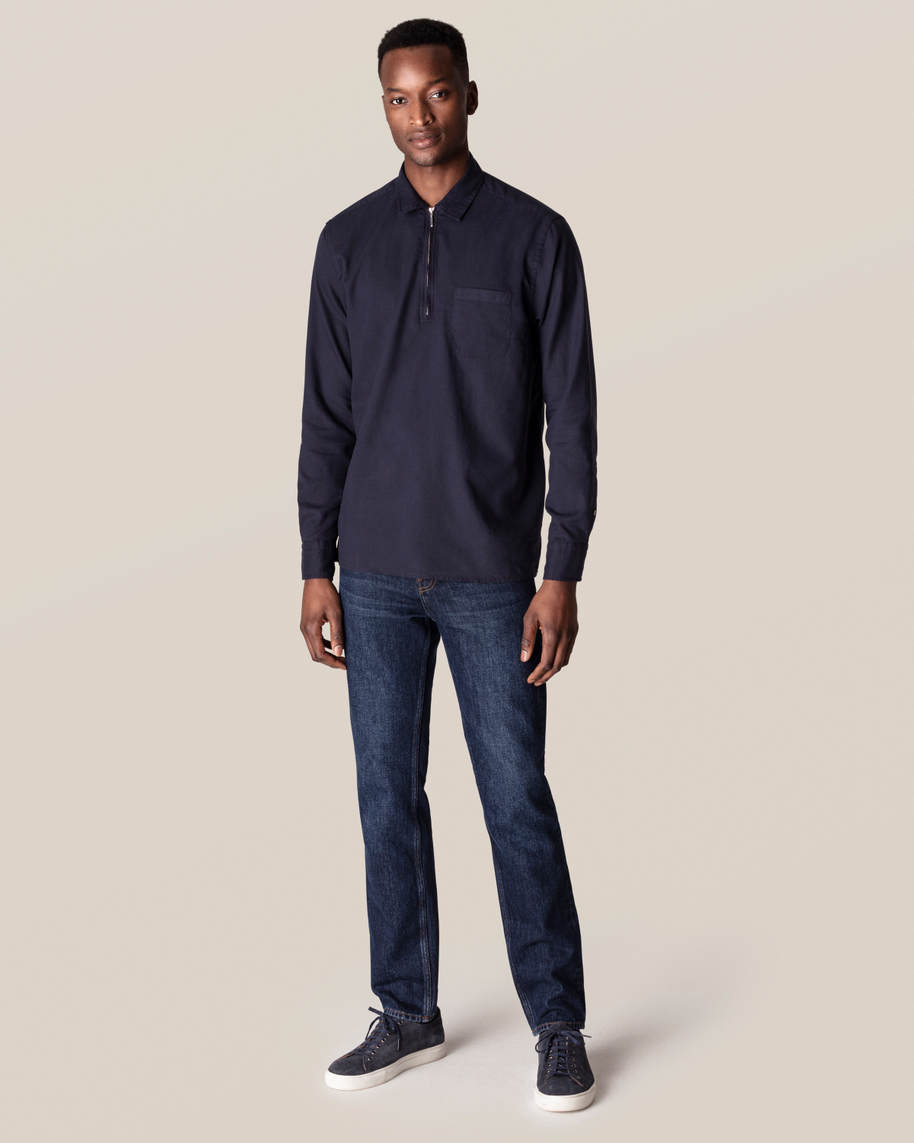 Dark Blue Half-Zip Shirt - image 6